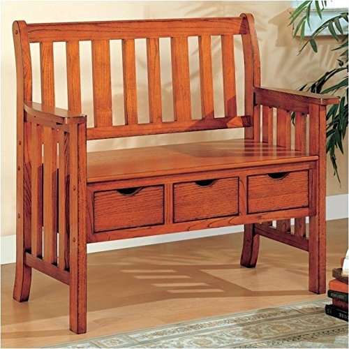 Bench with Drawers in Brown Cherry Finish