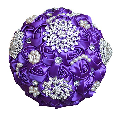 Wedding Flowers Bridal Bouquets Elegant Pearl Bride Bridesmaid Wedding Bouquet Crystal Sparkle ()