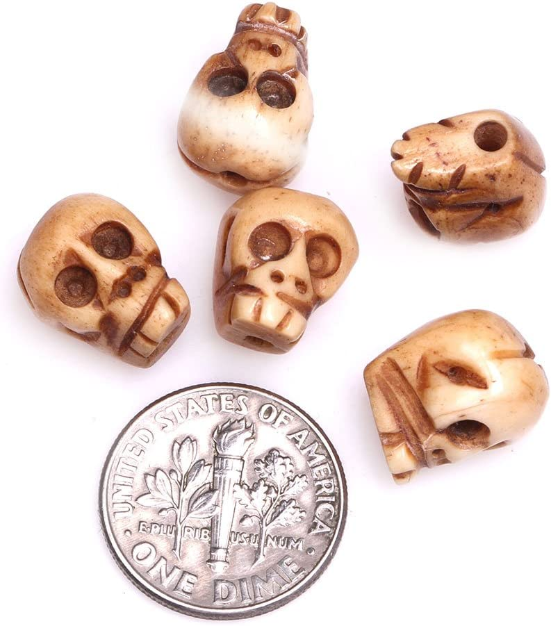 Amazon Com Gem Inside 10x14mm Antiqued Yellow Carved Bone Skull Beads For Halloween Jewelry Making Bulk 17 Pcs Arts Crafts Sewing