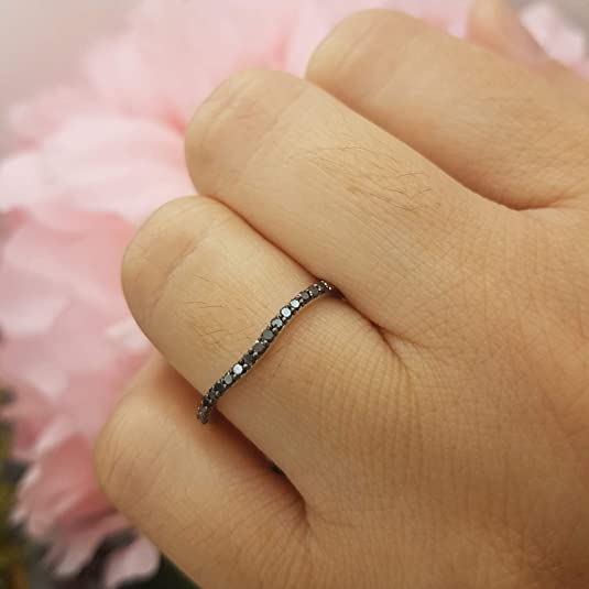 Anillo de boda de diamante negro redondo de oro blanco de 14 quilates de 0,25 quilates: Amazon.es: Joyería