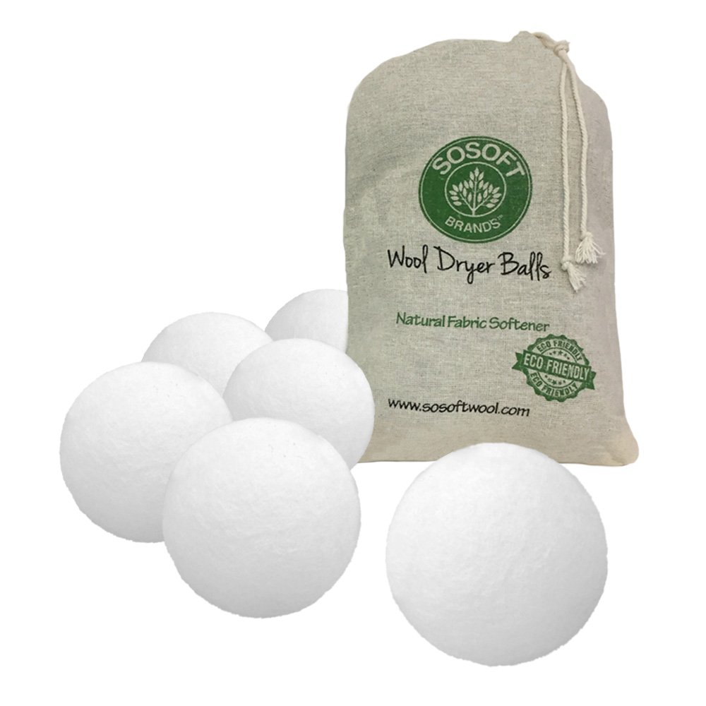 SoSoft Wool Dryer Balls 100% Premium So Soft Wool Dryer Balls XXL Hand Made in Nepal All Natural Eco Friendly All Natural Fabric Softener (White)