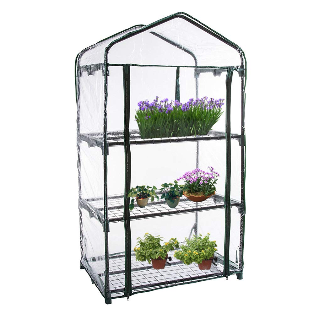 3 Tier Garden Greenhouse Mini Portable Plants Greenhouse Cover Plastic PVC Clear Walk-in Grow Green House for Outdoors Garden Plants Flowers