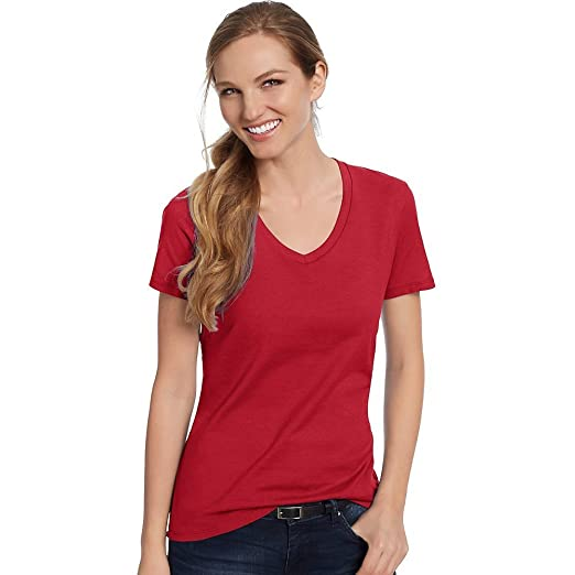 f553f33f51 Hanes Women s Nano-T® V-Neck T-Shirt Deep Red M at Amazon Women s ...