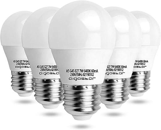Aigostar 003868 - pack de 5 Bombilla LED G45 big angle, de 7 W, casquillo gordo E27 y luz blanca 6400K.: Amazon.es: Hogar