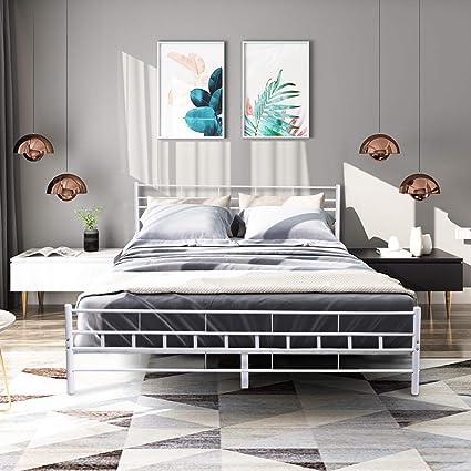 Amazoncom Giantex Wood Slats Bed Frame Platform Headboard