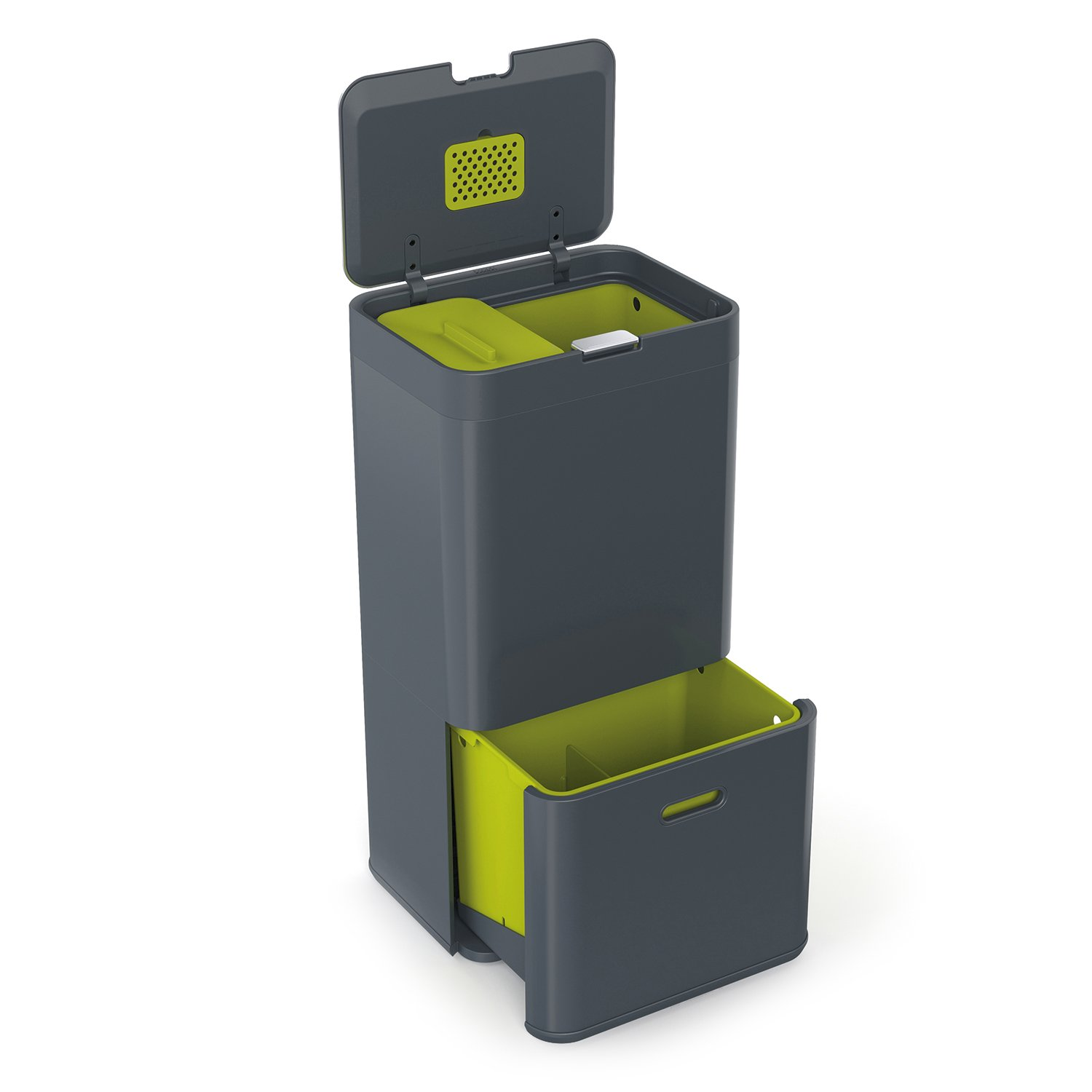 Joseph Joseph 30002 Intelligent Waste Totem Kitchen Trash Can and Recycle Bin Unit with Compost Bin, 16-gallon, Gray
