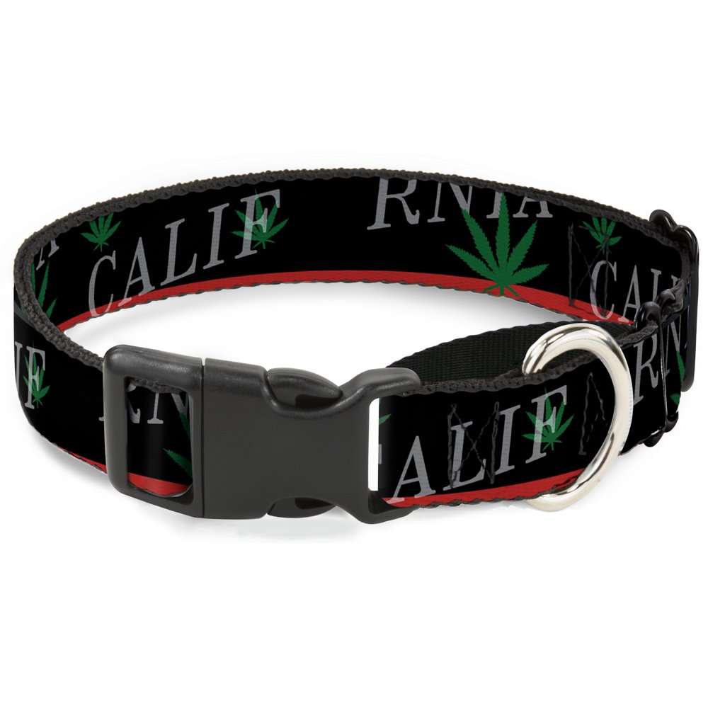 Buckle-Down MGC-W32987-WL California Pot Leaf Black Red Green White Martingale Dog Collar, Large