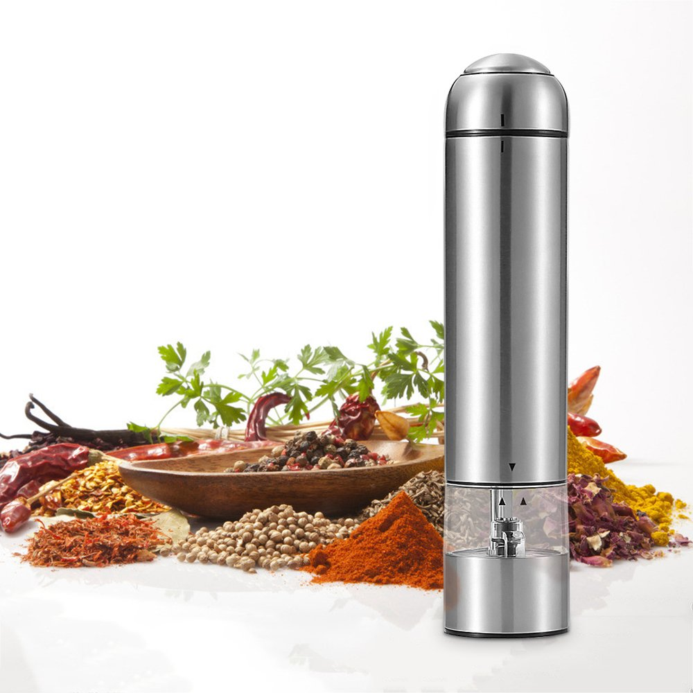 GEYUEYA Home Electronic Salt Pepper Grinder Pepper Mill and Salt Mill with LED Light Adjustable Grinding Coarseness Mills Automatic Salt and Pepper Shakers silver