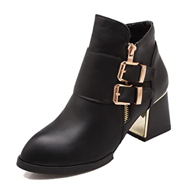 Women's PU Low-top Solid Zipper Kitten Heels Boots