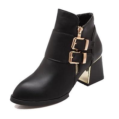 Women's PU Low top Solid Zipper Kitten-Heels Boots