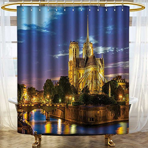 NALAHOMEQQ Paris Decor Notre Dame Cathedral at Dusk in Paris France Riverside Scenery Lights Reflection Image Polyester Fabric Bathroom Shower Curtain Extra Blue Golden(60