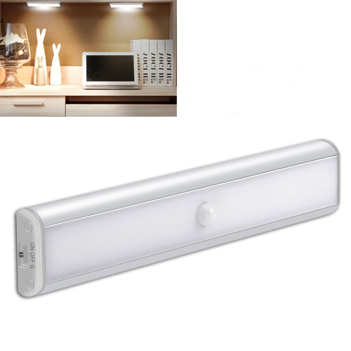 Motion Sensor Cabinet Light Night 850 mAh Battery,YIGER USB Rechargeable 10 LED with Removable Magnet+3M Adhesive ,Hallway/Wardrobe/Washroom /Stairs/Storage Room(Silver)