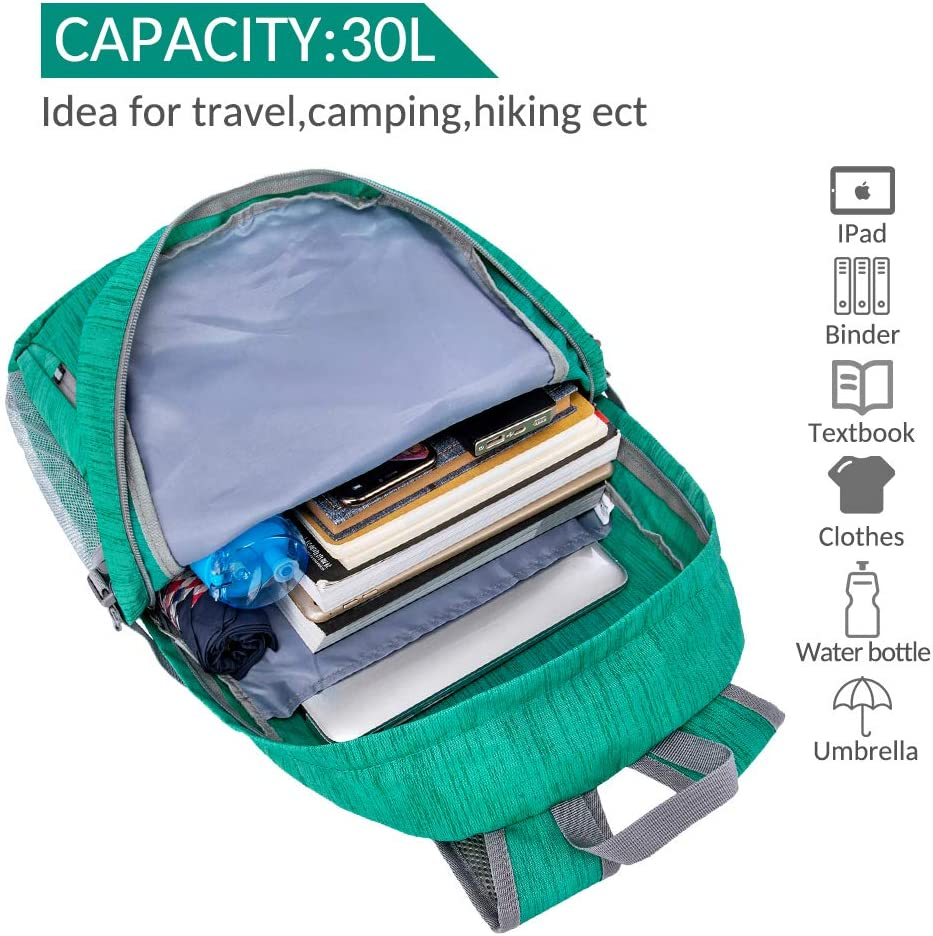 2020 Version ZOMAKE 30L Lightweight Packable Backpack Water Resistant Hiking Daypack