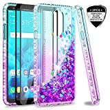 LG Stylo 4 Glitter Case,LG Stylo 4 Plus/Q Stylus 4 Case with Tempered Glass Screen Protector [2 Pack] for Girls Women,LeYi Bling Shiny Diamond Liquid Protective Phone Case for Stylo 4 Teal/Purple