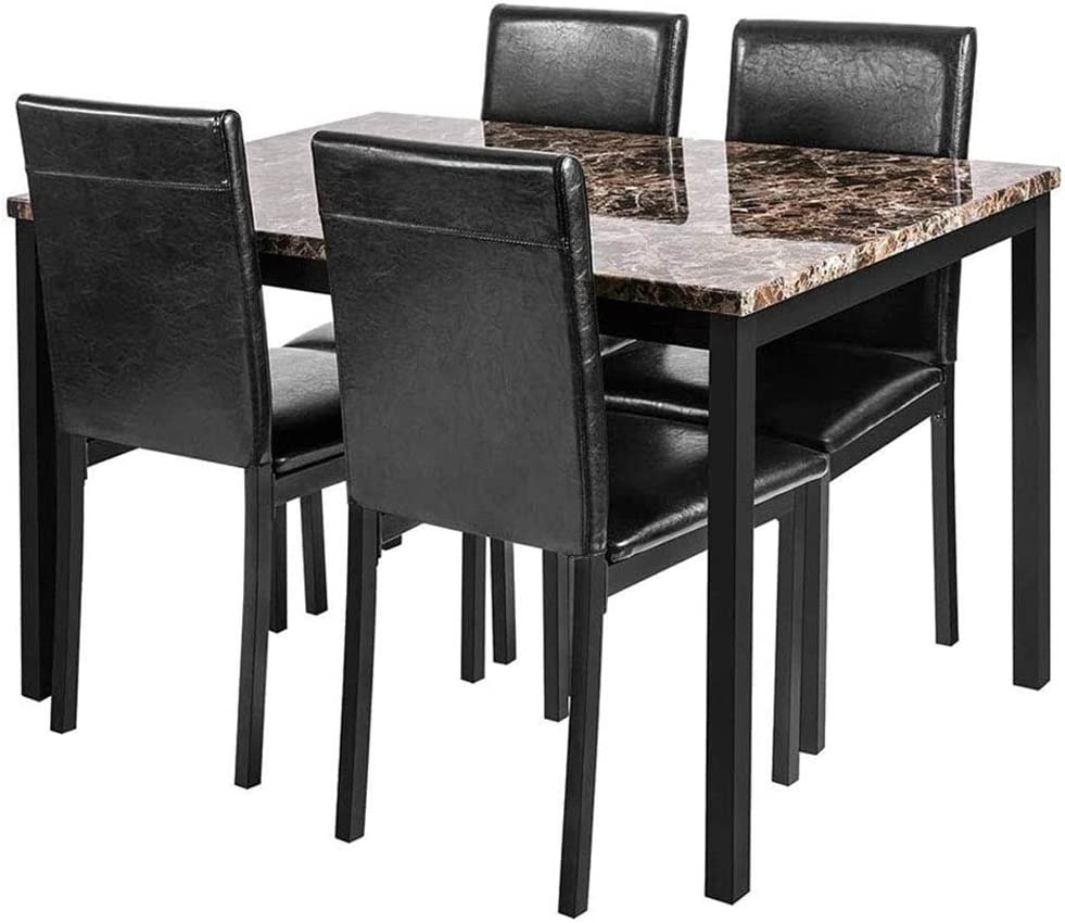 LinkRomat 5-Piece Kitchen, Artificial Marble Dining Table Set for 5 with Upholstered PU Leather Chairs, Easy to Assemble, Black
