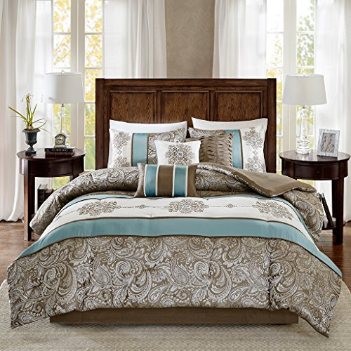Madison Park Caroline Queen Size Bed Comforter Set Bed in A Bag - Blue, Taupe, Jacquard Paisley - 7 Pieces Bedding Sets - Faux Silk Bedroom Comforters