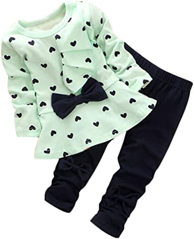 KONFA Toddler Baby Girls Love Heart T-Shirt+Pants,Suitable For 0-2 Years Old,2PCS Dresses Outfits Set