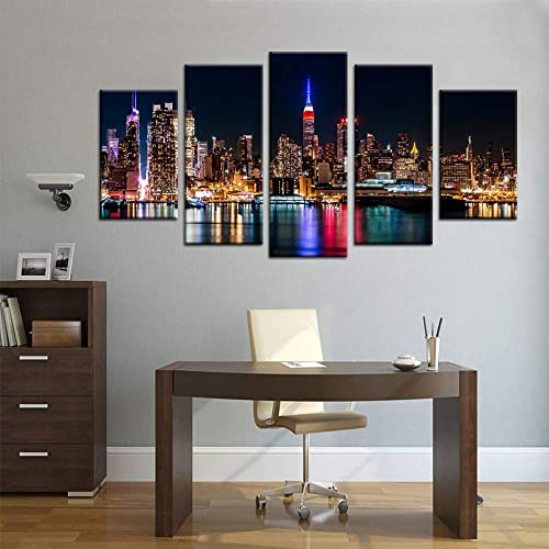 Biuteawal Large 5 Piece New York City Canvas Wall Art Manhattan Skyline at Night Picture Prints Modern Home Office Wall Decoration Gallery Wrapped Ready to Hang