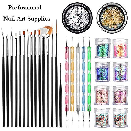 JOYJULY Professional Nail Art Supplies with 15pcs Brush Set, 5pcs Dotting Pen, 2pcs 3D nail diamonds rhinestones Kit, 8pcs Chunky Glitter Sequins for Nail Art/Body Glitter/Cosmetic Face/Hair
