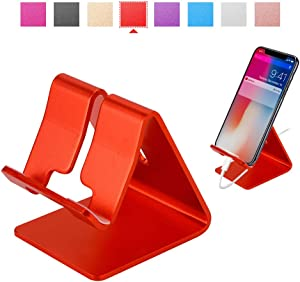 Rumfo Cell Phone Stand Universal Portable Aluminum Desktop Charger Mount Holder, Metal Tablets Dock Cradle for iPhone 11 X 8 7 6 Samsung Galaxy s10 9 All Smartphone (Red)