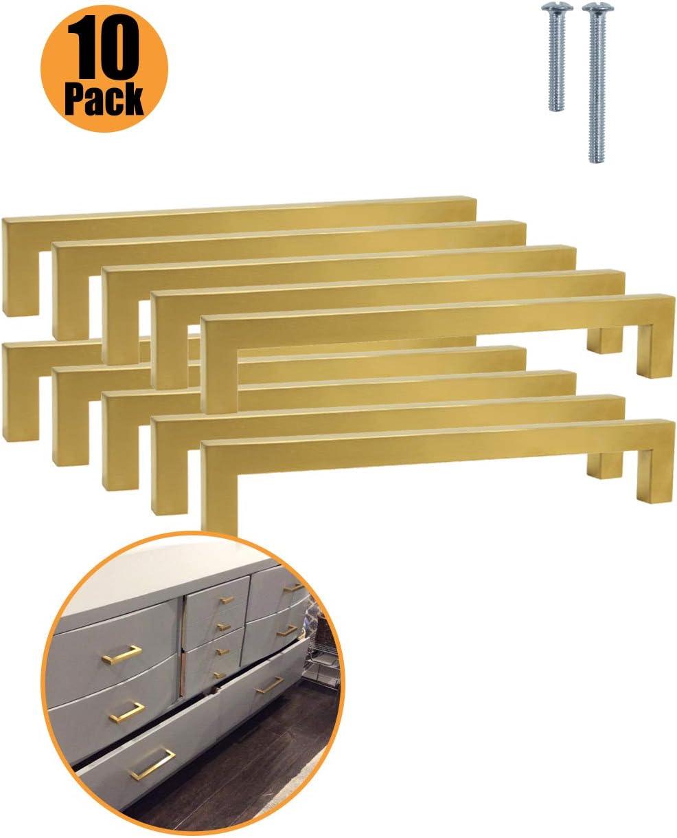 Probrico - 10X pomos cuadrados de latón cepillado para puerta de armario de cocina de acero inoxidable 6 tamaños (50mm 76mm 96mm 128mm 160mm 192mm): Amazon.es: Bricolaje y herramientas