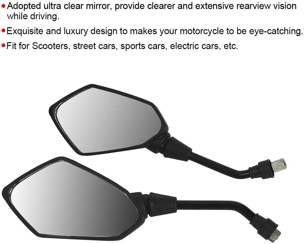 8mm Pair of Motorcycle Modification Universal Rearview Wing Mirror Motorbike Accessory Black Motorcycle Mirror
