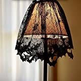 Halloween Decoration Black Spider Lace Table Topper, 60x20inch Black Bats Spiders Web Fireplace Mantle Lampshade Scarf Cover for Parties Décor Dinners