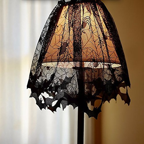 Halloween Decoration Black Spider Lace Table Topper, 60x20inch Black Bats Spiders Web Fireplace Mantle Lampshade Scarf Cover for Parties Décor (Lace Decor Lampshade Topper)
