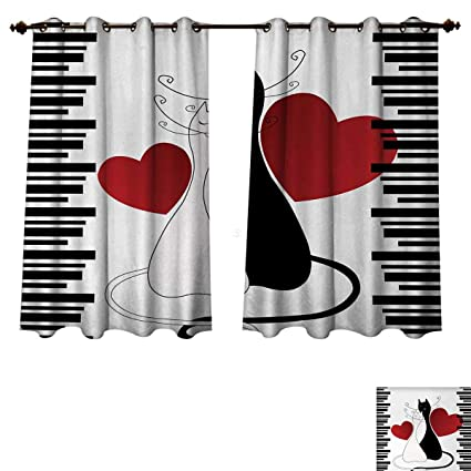 Anzhouqux Cats Bedroom Thermal Blackout Curtains Romantic Kittens Pets  Couple Two Tails Hearts And Black Stripes