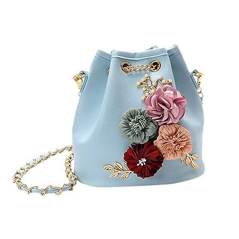 2c62fb84b698d TIFIY Damen Mädchen Ankunft Blumen Applikationen Kette Schulter Tasche  Handtasche Löffel Tasche (Himmelblau)