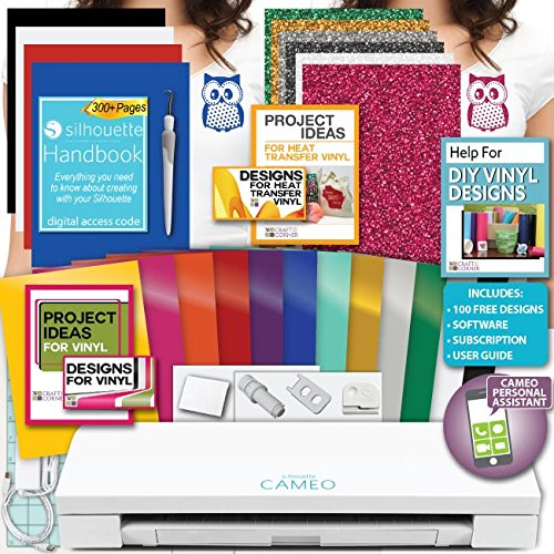 Silhouette Cameo 3 Machine Bundle Siser Glitter Heat Transfer Vinyl, HTV + Designs, Oracal Adhesive Vinyl + Designs, Tools by Silhouette America