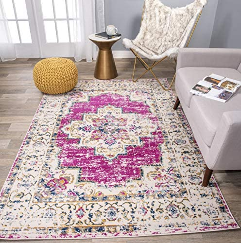 Rugshop Bohemian Medallion Distressed Design Area Rug 5 x 7 Pink