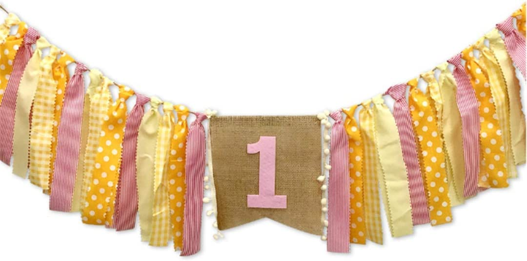 Yellow Lemon Theme Boy Girl 1st Birthday Party High Chair Banner Lemonade Theme One HighChair Garland Decoration Baby Shower Party Decoration (Yellow Pink Lemon)
