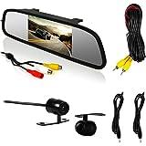 Espelho Retrovisor com Câmera de Ré Preta Tela LCD 4.3