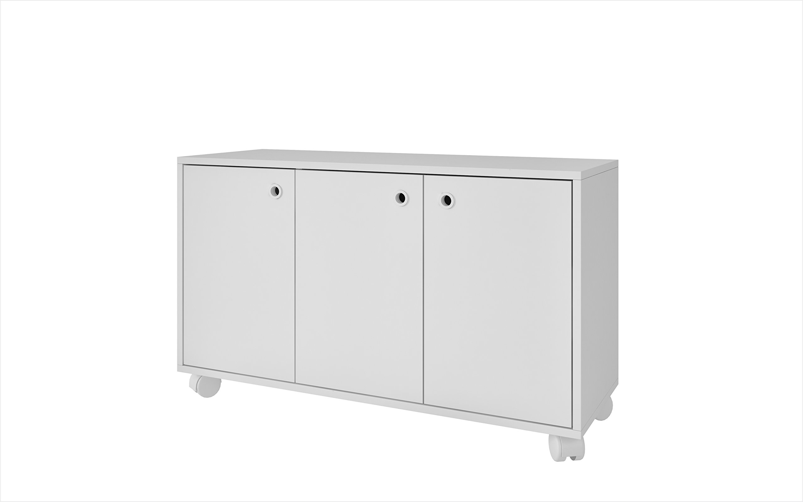 Manhattan Comfort Dali Cabinet Collection 3 Shelf Modern Storage Cabinet with 3 Doors and 4 Caster Wheels, 35.4'' L x 13'' D x 21'' H, White