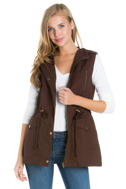 My Yuccie Women's Anorak Military Utility Jacket Vest with Drawstring