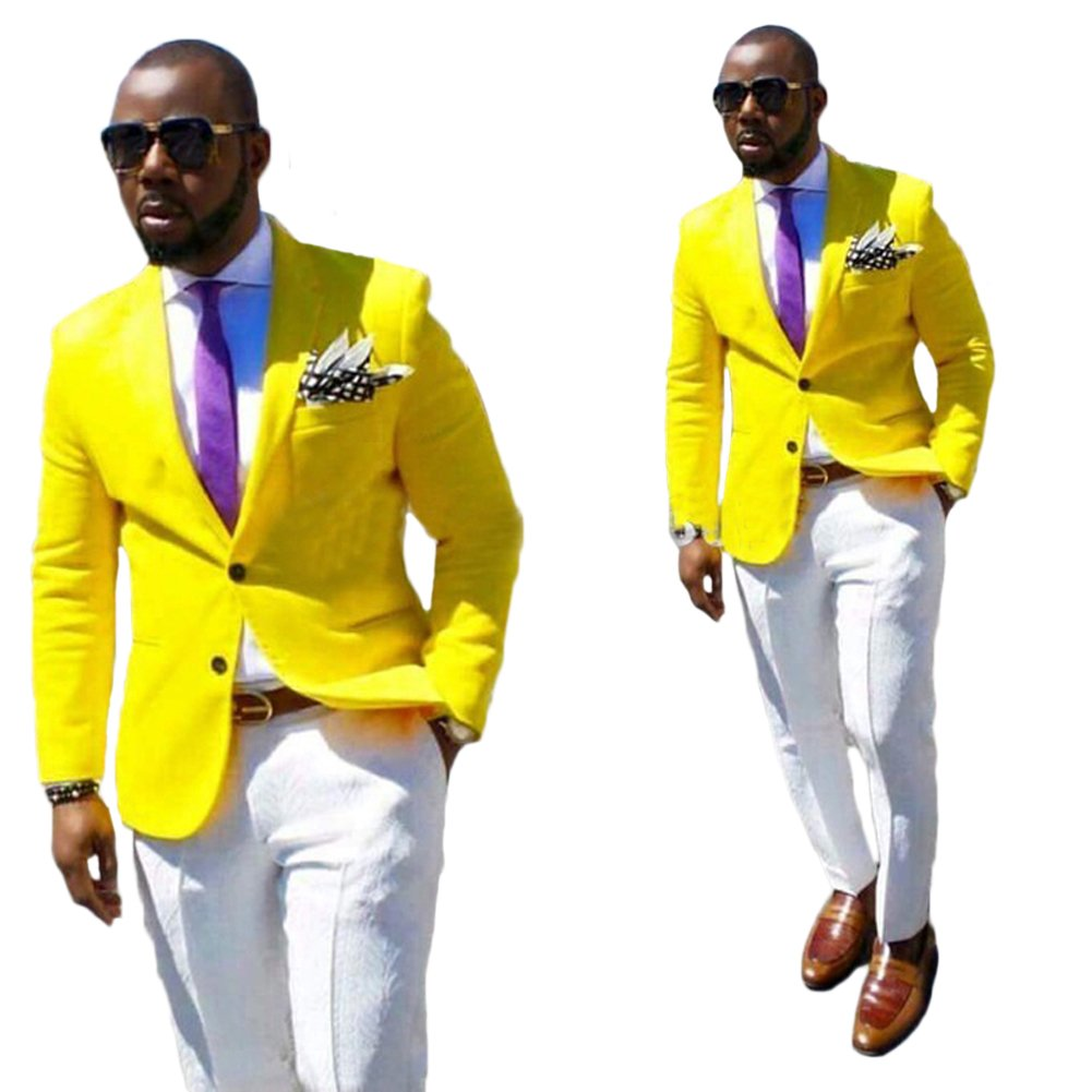 Mens Yellow Jacket White Pants Wedding Suits 2 Pieces Business