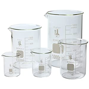 Karter Scientific, 3.3 Boro, Griffin Low Form, Glass Beaker Set - 5 Sizes - 50ml, 100ml, 250ml, 500ml, 1000ml
