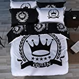 Mumgo Textile Bedding for Adult Kids Black White Queen Crown Duvet Cover Set 100% Cotton, Twin Queen King Set WITHOUT Comforter or Filling (King size(4pc/set), Fitted Sheet)