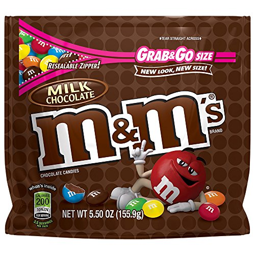 M&M'S Milk Chocolate Candy Grab & Go Size 5.5-Ounce Bag (Pack of 12) -