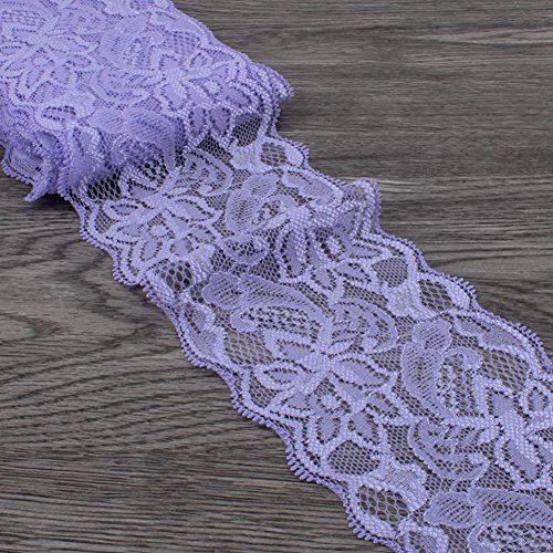 Light Purple Lace Trim, Tulle Lace Ribbon, Stretch Lace Fabric by The Yard for Sewing Baby Girls Hair Accessories (3.15 inch Wide, Light Purple, 10 Yards)