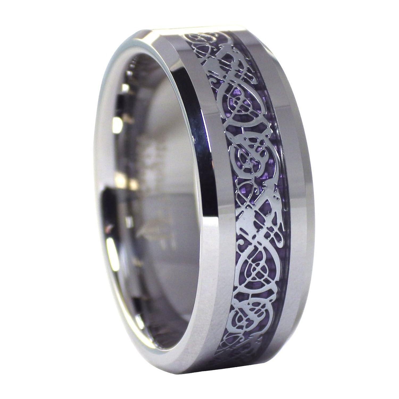 Amazon: Tungsten 8mm Silver Tone Viking Dragon Celtic Knot Ring Purple  Carbon Fiber Wedding Band Size 617: Jewelry