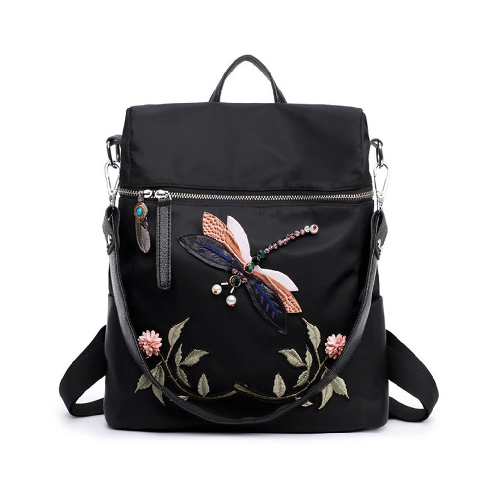 Black Nylon Daypack for Teenage Girls Dragonfly Embroidery School Bags Backpack