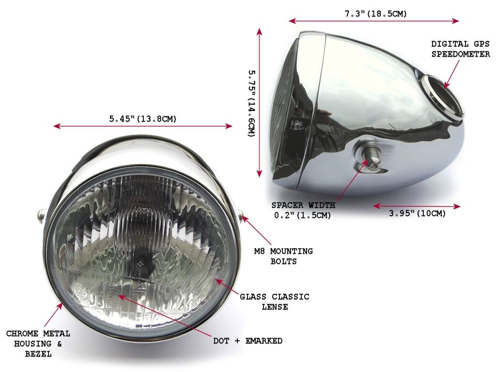 5.75 inch Chrome Motorbike Headlight with Integrated Digital GPS Speedometer Alchemy Parts Ltd