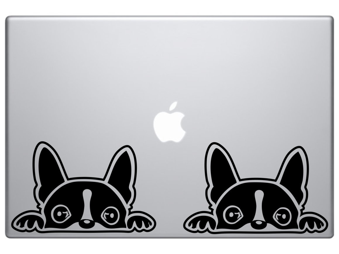 1 X Boston Terrier Peeking Over 6' Vinyl Car Truck Decal Sticker Dogs Rescue Adopt Animals Cute Funny Adorable (Black) Art Stickers & Decals