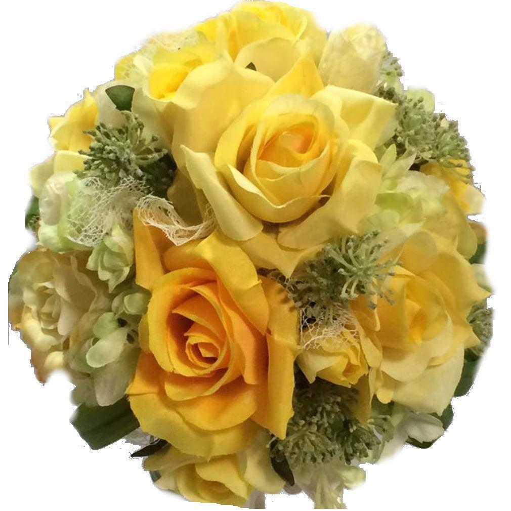 花職人の店 いるでぱいん ウエディングブーケ ブートニア セット ラウンドブーケ バラ あじさい 黄 イエロー オレンジ ブライダルブーケ ウエディング ブライダル アートフラワー シルクフラワー 造花 B07JBDCK29