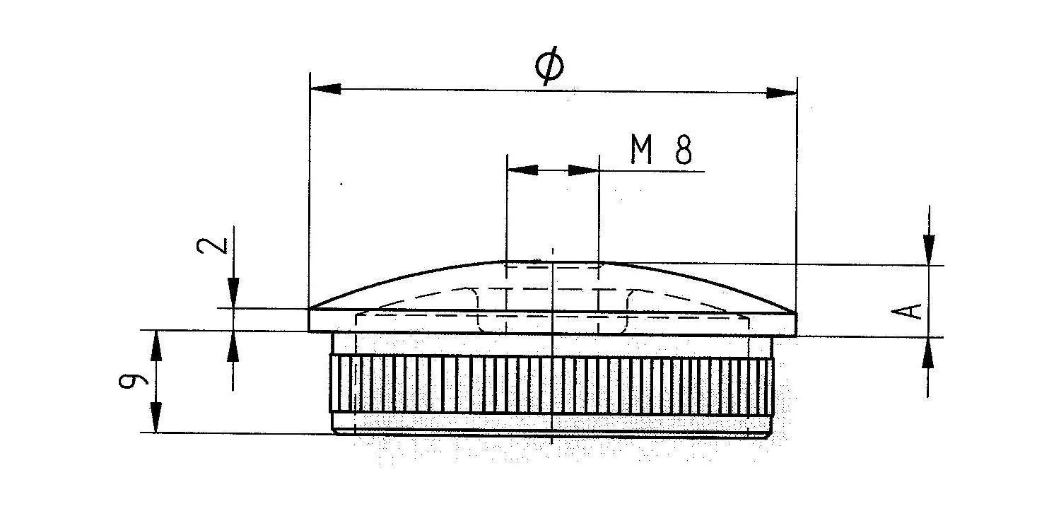 Handlauftr/ägerst/ütze mit 1x M8 Gewinde: 65mm leicht gew/öblt f/ür RR 42,4 x 2 mm mit R/ändel und Gewinde M8 f/ür Handl/äufe flach Anschraubplatte Handlauftr/ägerst/ütze Rohrstopfen V2A
