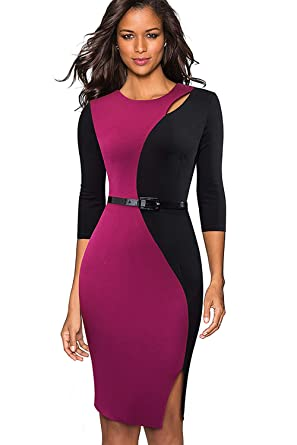fa92e647fe1 ROSE IN THE BOX Womens Colorblock Business Casual Clothes Bodycon ...