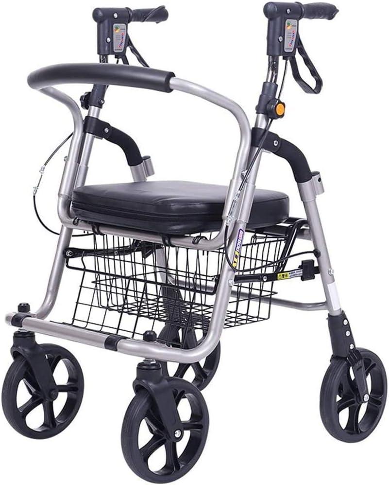 Rabbfay Supermercado Ancianos Ligera Andador Walker, Moderno Cesta Push Pull con Extraíble Bolsa De La Compra, para La Compra De Alimentos, Compras, Viajes, Regalos, Camping,1