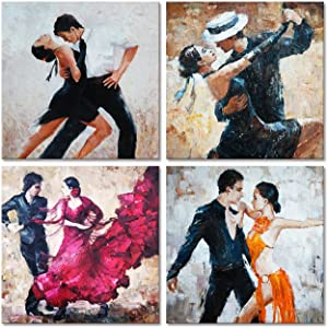 Modern Canvas Wall Art Decor Romance Dancing Couple of Tango Painting Prints Framed and Stretched Picture Art Home Decoration 12